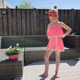 play/jumpsuit met haarband neon pink