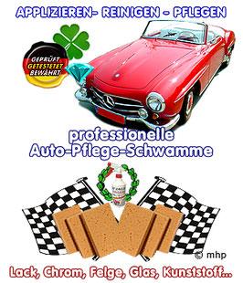Autopflegeschwämme - professionell - applizieren - reinigen - pflegen umweltgerecht