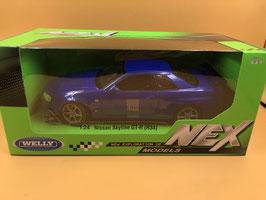 NISSAN SKYLINE GT R (R34) - BLU - WELLY 1/24
