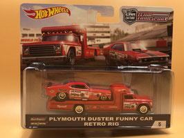 #5 PLYMOUTH DUSTER FUNNY CAR & RETRO RIG & RETRO RIG