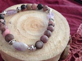 Bracelet perles de rhodonite mat et perles ovales d'améthyste