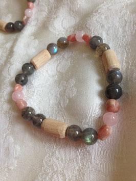 Bracelet en bois de hêtre, rhodocrosite, quartz rose, aventurine