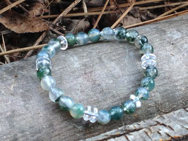 Bracelet agate mousse et cristal de roche
