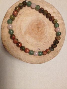 Bracelet unakite, quartz rose, aventurine