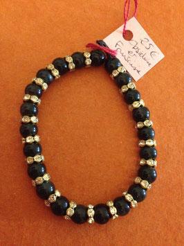 Bracelet Obsidienne noire 8 mm et fantaisie strass