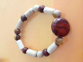"""Bracelet """"En amour avec la Terre"""" - Perle plate rouge brun"""