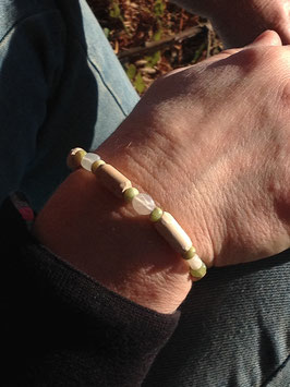 Bracelet FEMME Pierre de Lune, péridot, bois de hêtre - Bracelet YIN