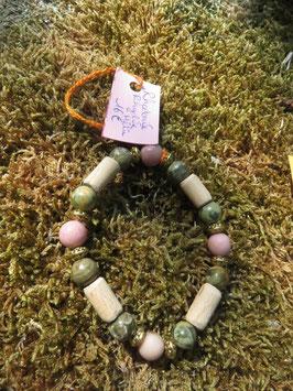 Bracelet Rhodonite, Rhyolite et bois de hêtre et fantaisie