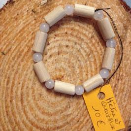 Bracelet pour enfant ou adolescent(e) quartz rose et bois de hêtre