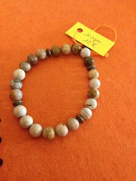 Bracelet Jaspe et fantaisie. (perles 6 mm et fantaisie coupelles)