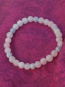 Bracelet perles de quartz rose et calcédoine bleue