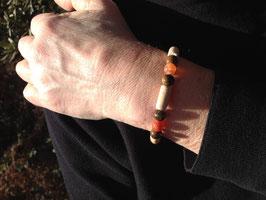 """Bracelet """"Trio cornaline, oeil de tigre et Hêtre"""" - Bracelet MIXTE : Homme, Femme"""
