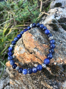 Bracelet sodalite et fantaisie en perles de 6 mm