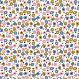044 Baumwollstoff Flower Field white