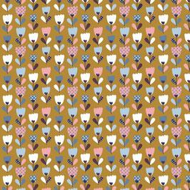 043 Baumwollstoff Flower Field ochre