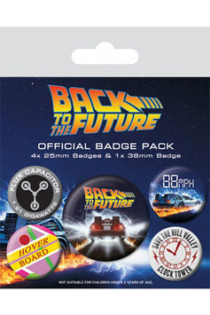Pack de 5 Chapas Regreso al Futuro DeLorean