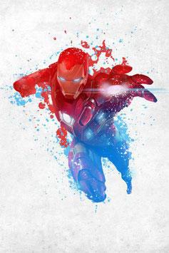 Póster Metal Iron Man Rojo, Blanco y Azúl (10x14cm)
