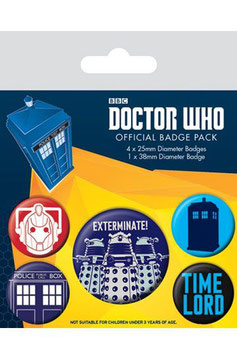 Pack de 5 Chapas de Dr. Who Exterminate