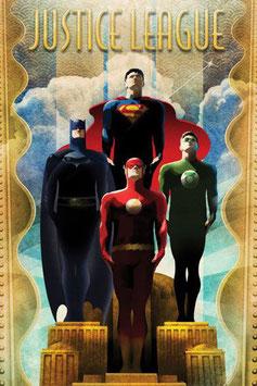 Póster de Metal de DC Comics La Liga de la Justicia Retro (10x14cm)