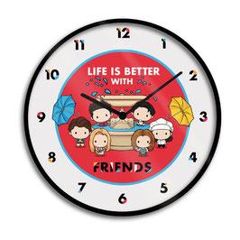 Reloj de Pared La Vida es Mejor con Amigos Chibi