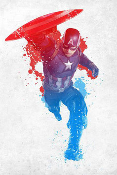 Póster Metal Capitán América Blanco, Rojo y Azul Civil War (10x14cm)