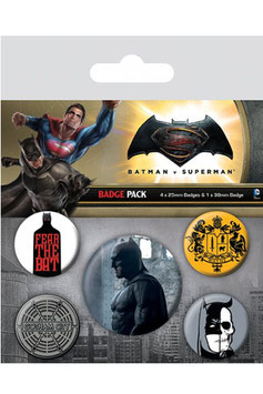 Pack de 5 Chapas Batman VS Superman