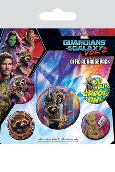 Pack de 5 Chapas Guardianes de la Galaxia Rocket & Groot