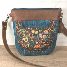 """Handtasche """"Petrol mit Blumenwiese"""""""