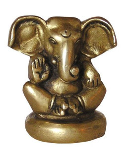 Ganesha, sitzend, Messing, ca. 6 cm