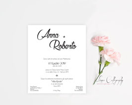 "Invito SINGOLO - DESIGN 6 ""Calligraphy"""