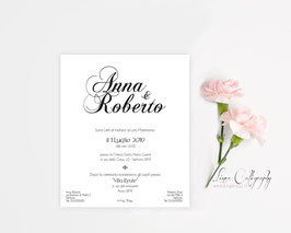 "Invito SINGOLO -  DESIGN 2 ""Calligraphy"""
