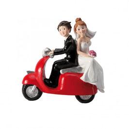 """Cake Topper """"Sposi su vespa rossa"""""""