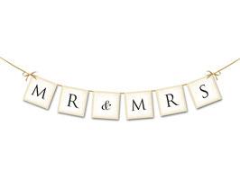 """Banner """"Mr&Mrs"""" Avorio"""