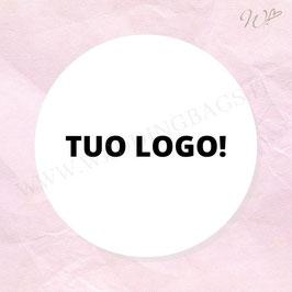TUO LOGO - 12 Etichette Tonde D6cm - Iniziali