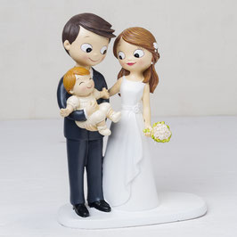 """Cake Topper """"Family"""" c/bebè"""