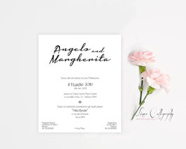 "Invito SINGOLO - DESIGN 10 ""Calligraphy"""