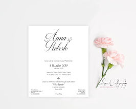 "Invito SINGOLO - DESIGN 8 ""Calligraphy"""