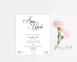 "Invito SINGOLO - DESIGN 7 ""Calligraphy"""