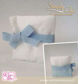 "Cuscino c/tasca in cotone bianco ""Simply Chic"""