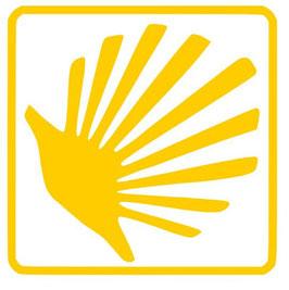 Camino Sticker Muschel/ Pilgerkreuz, Pilger, Pfeil