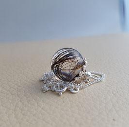 Haarkugelkette, 925 Silber aus Kunstharz