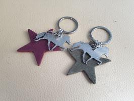 Schlüsselanhänger, Edelstáli und Stern