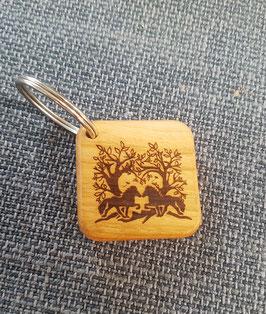 Schlüsselanhänger Holz mit Baummotiv