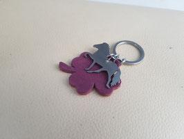 Schlüsselanhänger, Edelstáli und Kleeblatt