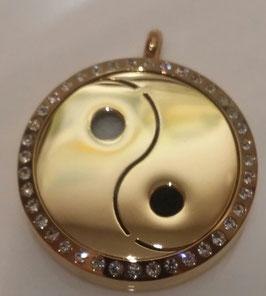 """Aroma Schmuck  """"Yin und Yang"""" gold mit Kristalle"""
