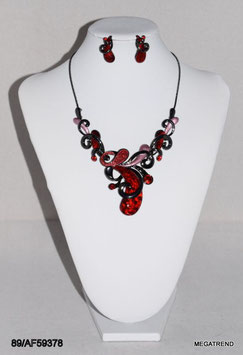 3. Modeschmuck Set: Collier + Ohrstecker rot