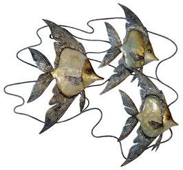 Fische aus Metall mit Perlglanzlasur