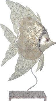 weißer Fisch aus Metall mit Perlglanzlasur