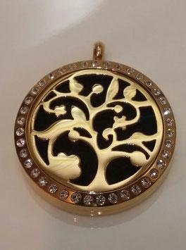 """Aroma Schmuck  """"Lebensbaum"""" 10. gold mit Kristalle"""