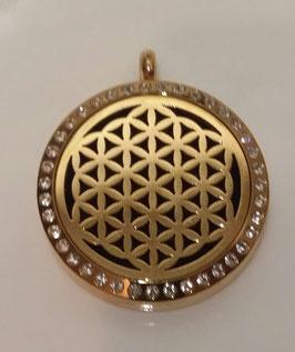 Aroma Schmuck  Die Blume des Lebens gold mit Kristalle 30mm